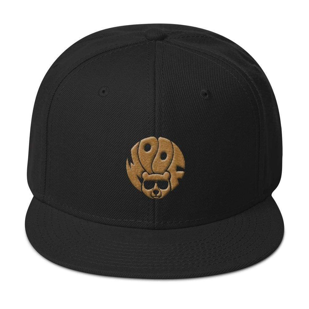 Black 5-panel, structured, high-profile hat with gold image of bear and text woof