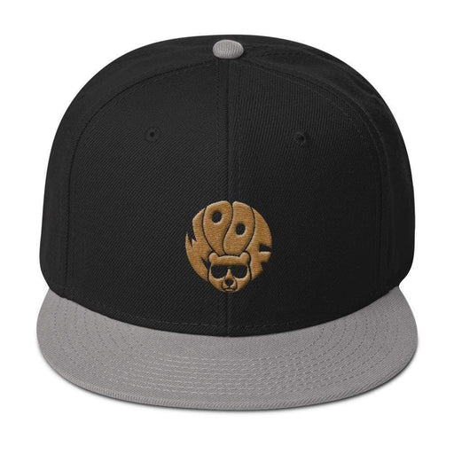 Black Grey 5-panel, structured, high-profile hat with gold image of bear and text woof