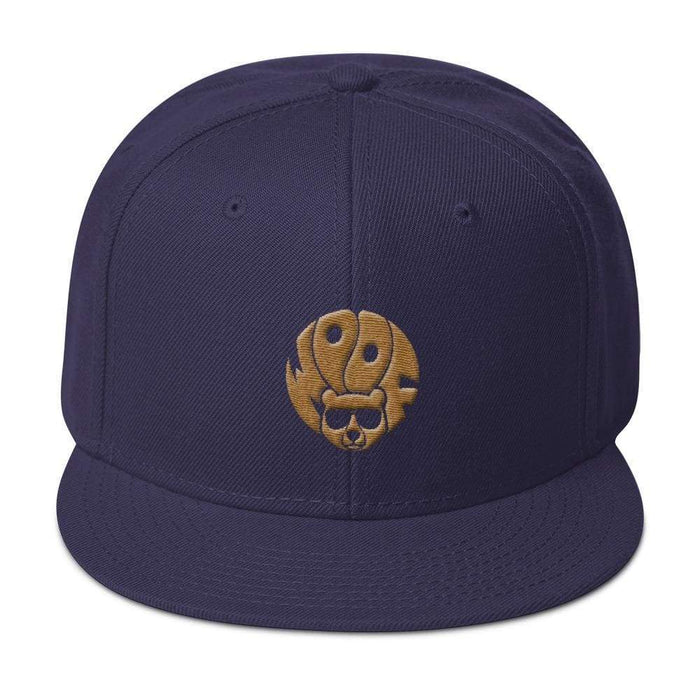 Navy 5-panel, structured, high-profile hat with gold image of bear and text woof