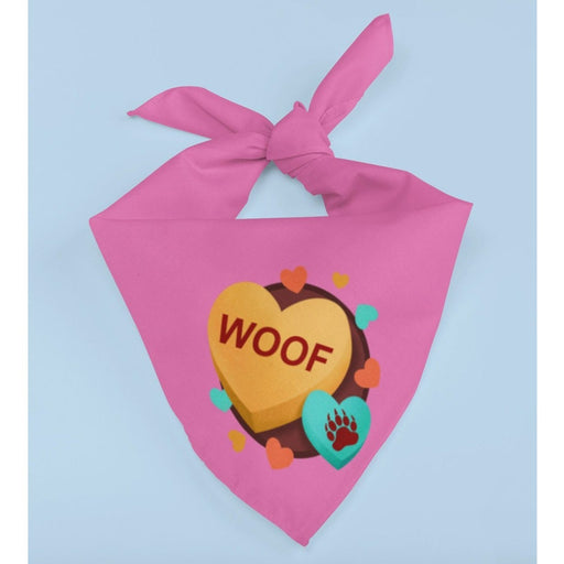 Pink trianggle dog bandana with image of hearts of text woof