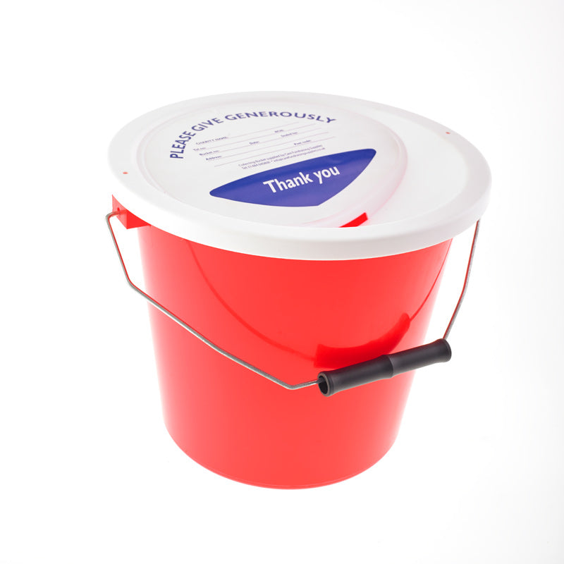 red charity collection bucket