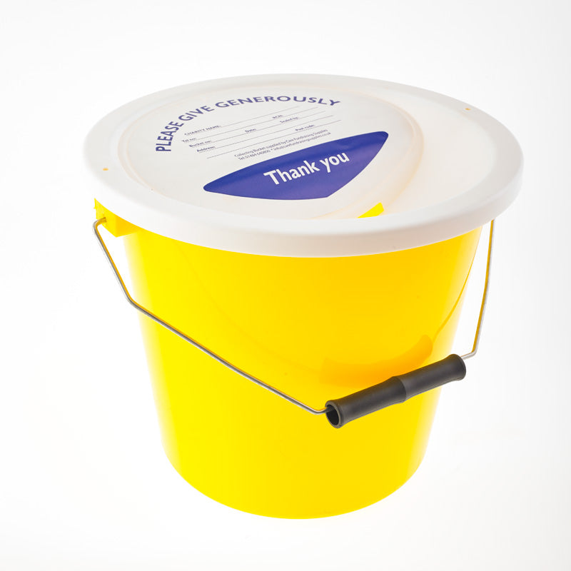 Yellow Charity Collection Bucket