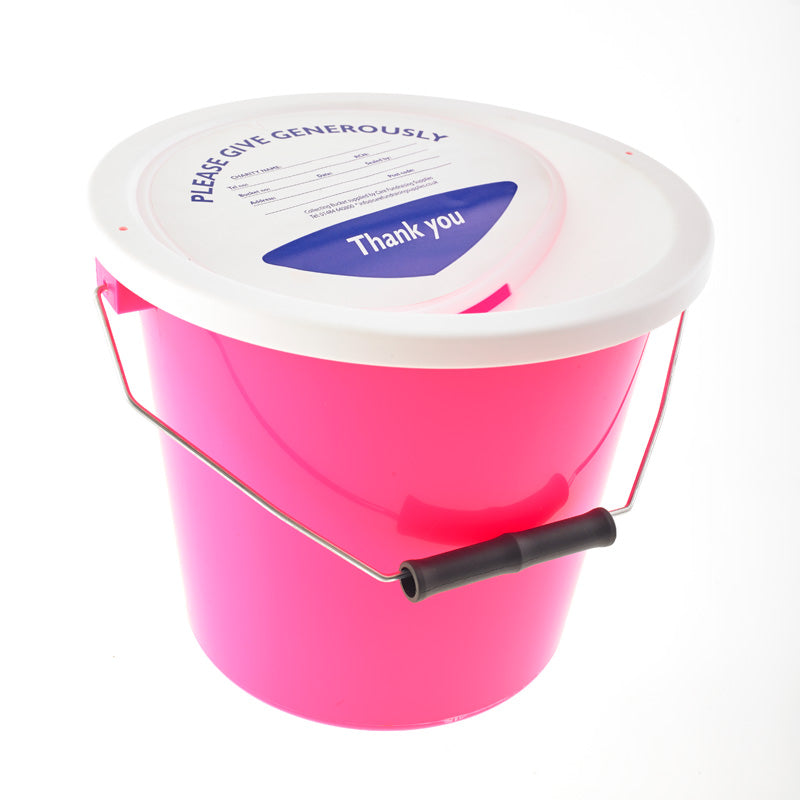 Pink charity collection bucket