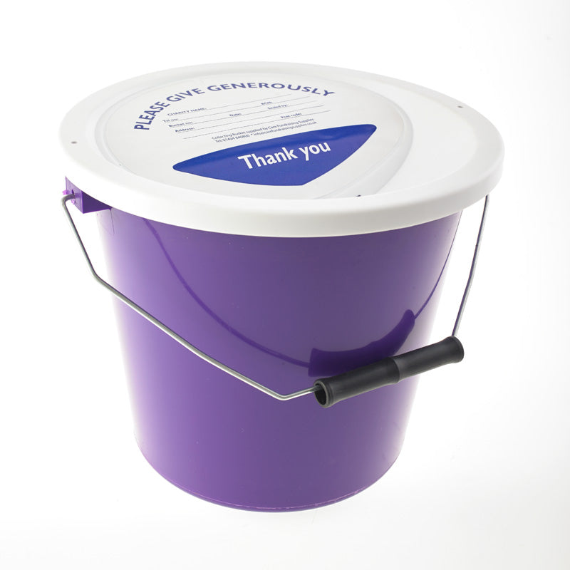purple charity collection bucket