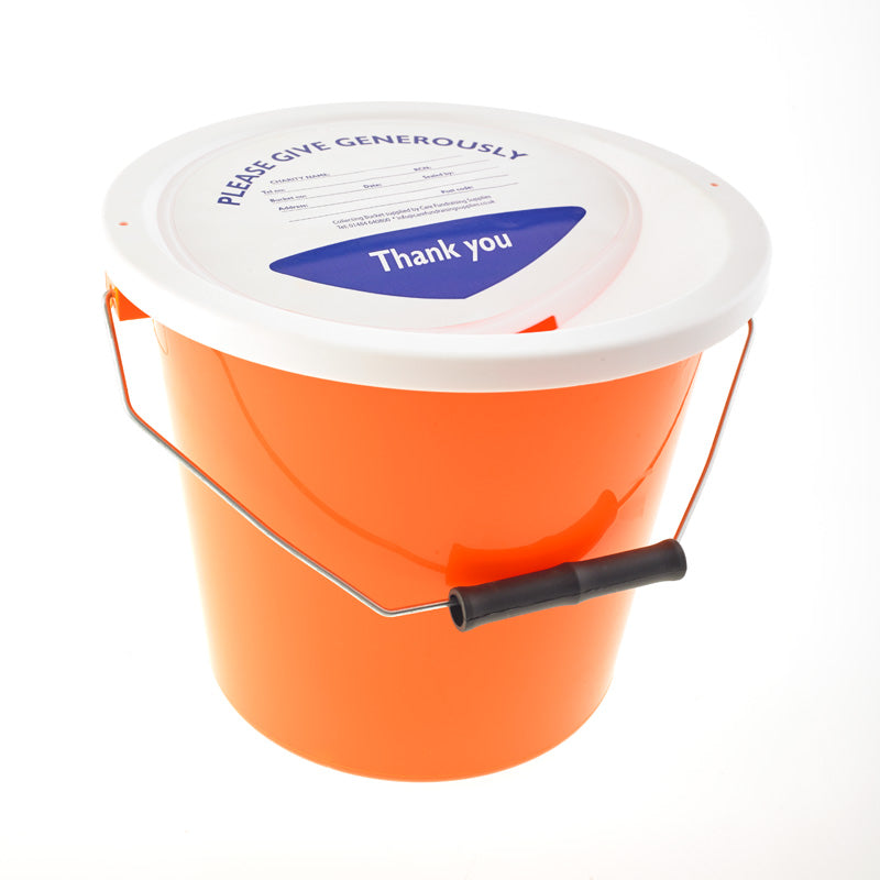 orange charity collection bucket