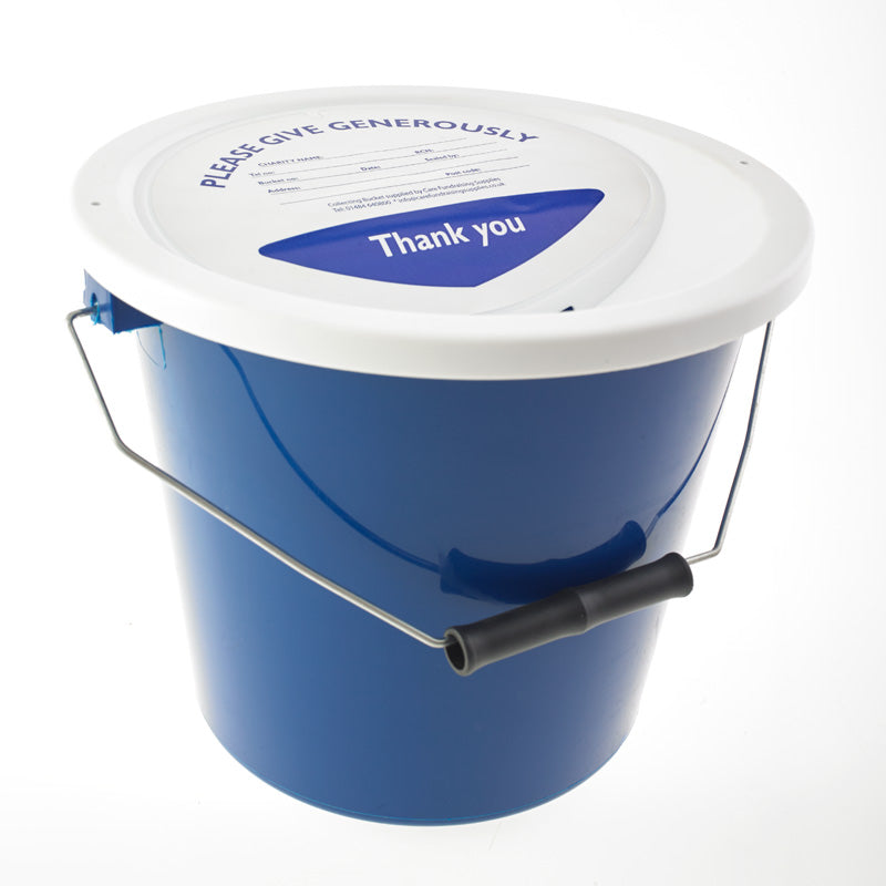 navy blue charity collection bucket