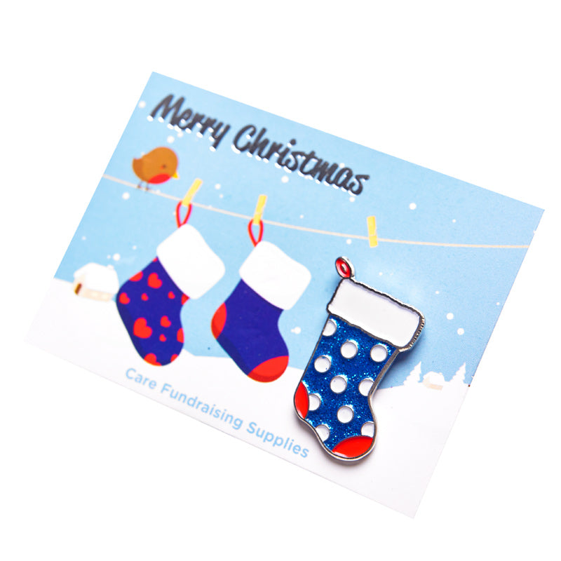 Christmas Stocking badge on a backing card