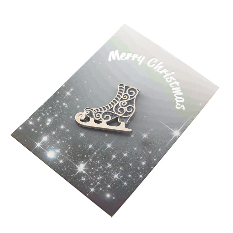 ice skate christmas pin badge