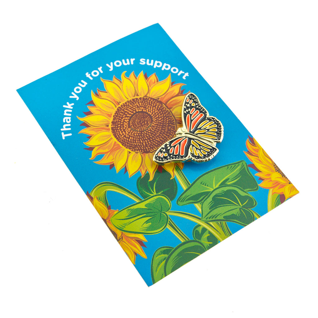 (Charity Only) Butterfly Badge on Sunflower card
