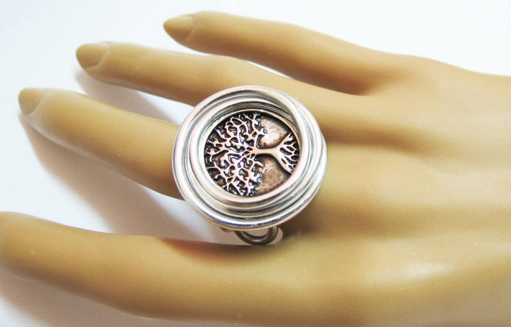 Wire Wrapped Ring, Tree Jewelry, Tree Ring, Silver Wire Ring, Nature R