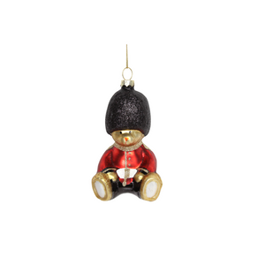 Teddy Soldier Painted Glass Decoration