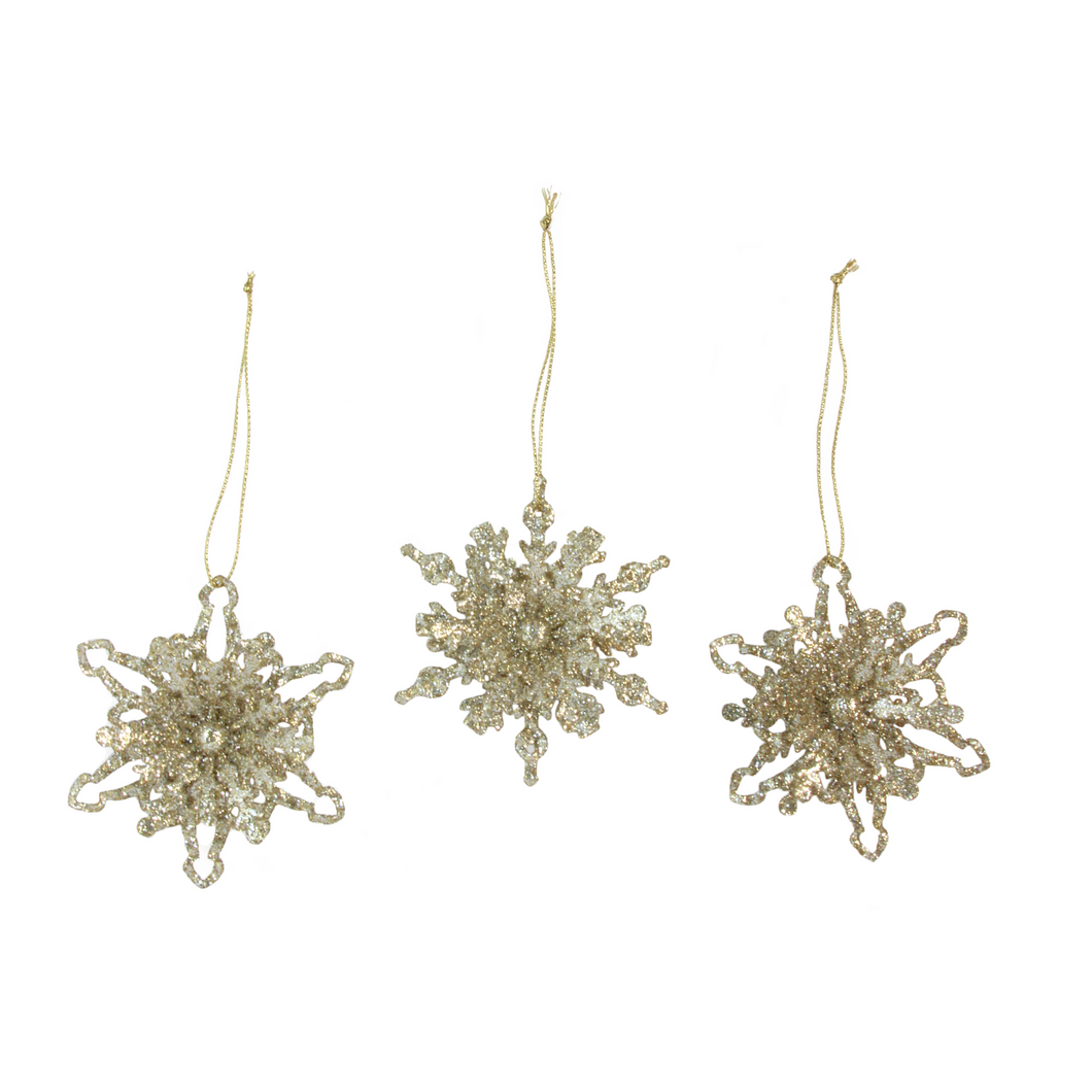 Gold Glitter Tin Snowflake Decoration