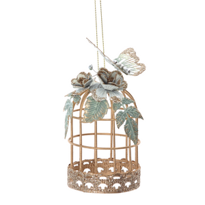 Gold Wire Bird Cage with Butterly Decoration