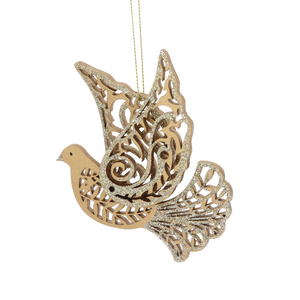 Gold Fretwork Flying Dove Decoration