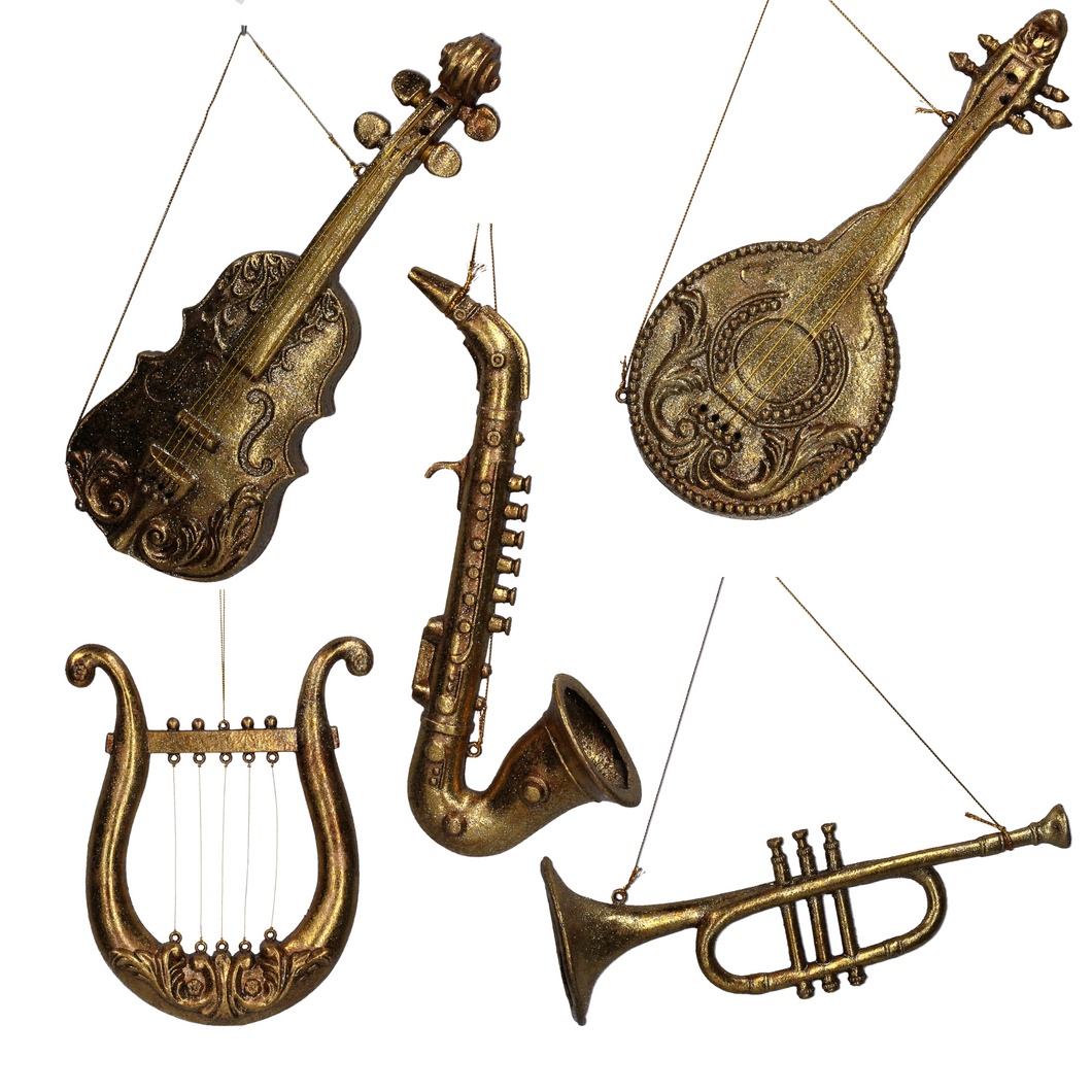 Assorted Old Gold Medium Instrument Decorations