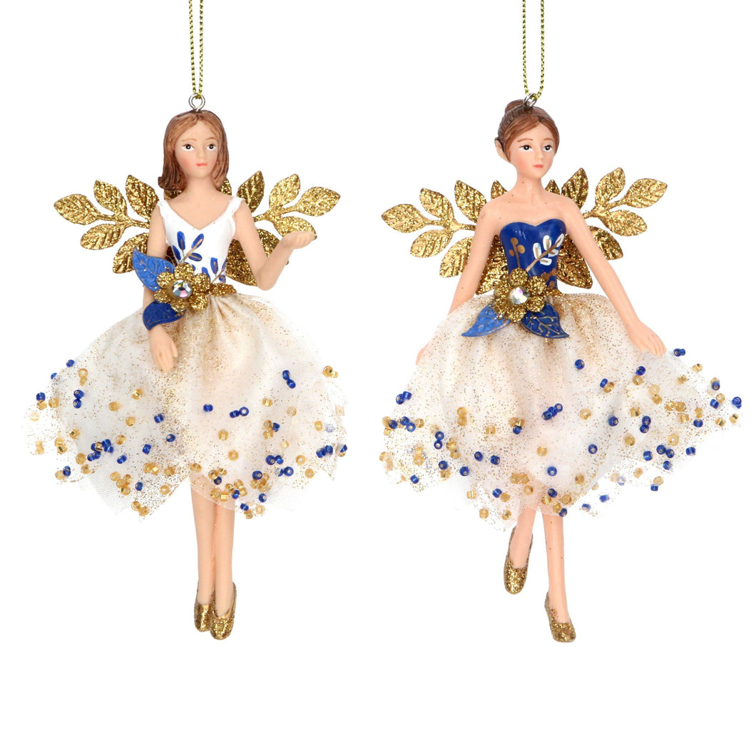 Blue and Gold Leaf Winged Fairy