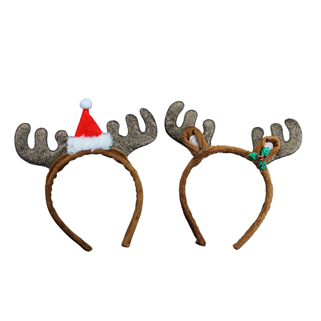 Fabric Glitter Antlers with Holly and Hat