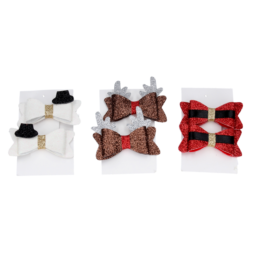 Assorted Fabric Christmas Bow Hair Clip