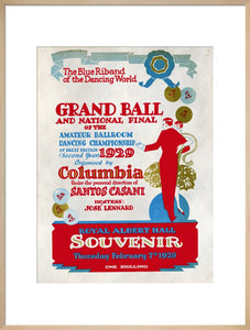 Programme for The Grand Ball and 1929 National Final of the Amateur Ballroom Dancing Championship, 7 February 1929