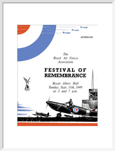 Programme for Festival of Remembrance, in aid of The Royal Air Forces (RAF) Association and The Royal Air Force (RAF) Benevolent Fund, 11 September 1949 - Royal Albert Hall