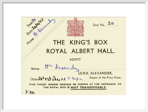 King's Box Ticket - 1957