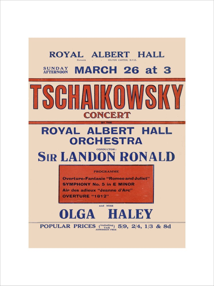 Handbill from Special Sunday Concerts (1921-1922 Season) - Tschaikowsky Concert by the Royal Albert Hall Orchestra and Miss Olga Haley, 26 March 1922 - Royal Albert Hall