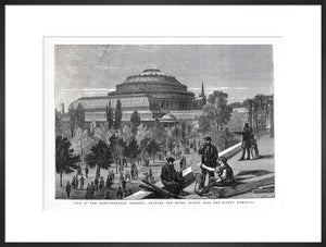 Exterior of the Royal Albert Hall from the Royal Horticultural Society gardens 1870s - Royal Albert Hall