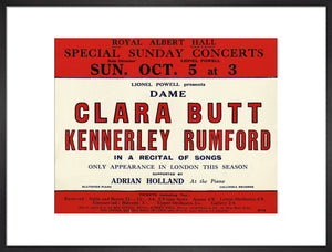 Handbill for Special Sunday Concerts 1930-1931 - Dame Clara Butt and Kennerley Rumford, A Recital of Songs, 5 October 1930