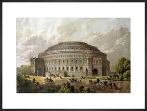 Construction illustration of the Royal Albert Hall in colour.