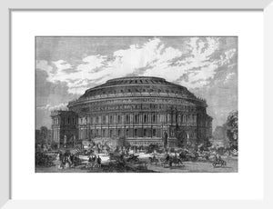 Illustration of the Royal Albert Hall in black and white.