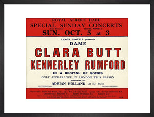 Handbill for Special Sunday Concerts 1930-1931 - Dame Clara Butt and Kennerley Rumford, A Recital of Songs, 5 October 1930 - Royal Albert Hall