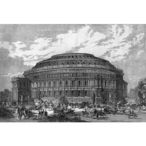 Construction illustration of the Royal Albert Hall in black and white.