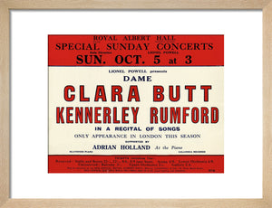 Dame Clara Butt and Kennerley Rumford's Special Sunday Concerts (1930-1931 Season) Art Print