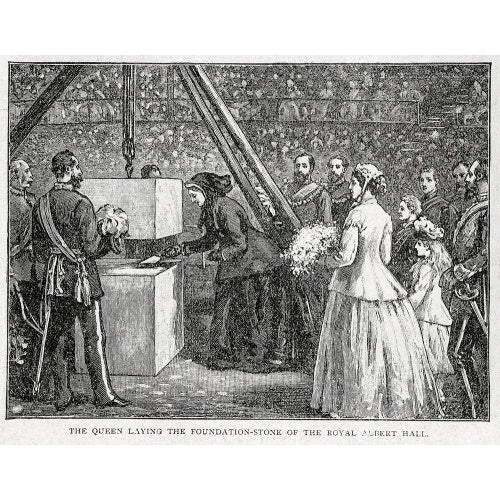 Close up of Queen Victoria laying the Hall's Foundation Stone