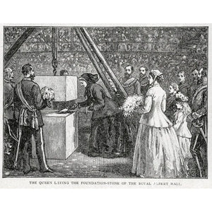 Close up of Queen Victoria laying the Hall's Foundation Stone - Royal Albert Hall