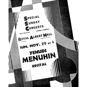Programme for Special Sunday Concerts (1931-1932 Season) - Yehudi Menuhin, 29 November 1931 - Royal Albert Hall