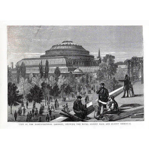 Exterior of the Royal Albert Hall from the Royal Horticultural Society gardens 1870s
