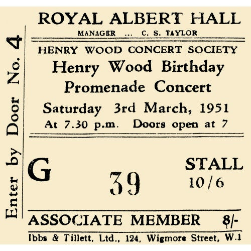 Henry Wood Concert Society - Henry Wood Birthday Promenade Concert, 3 March 1951 - Royal Albert Hall