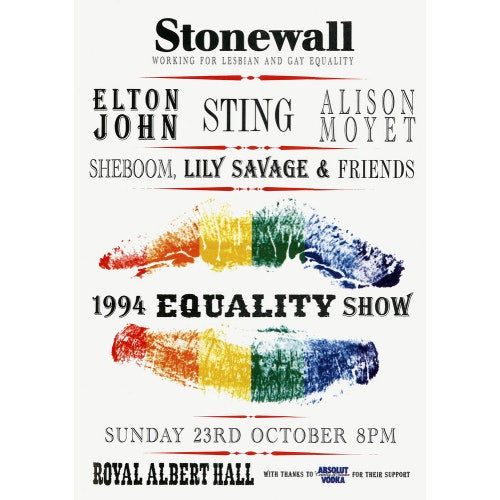 Handbill from Stonewall - 1994 Equality Show, 23 October 1994 - Royal Albert Hall
