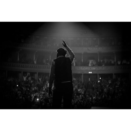 Juan Luis Guerra, 2013, Black and White Stage View Photo Print