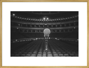 Microphone on Stage at the Royal Albert Hall, Black & White Photo Print