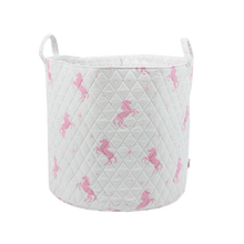 Load image into Gallery viewer, Large storage basket - white & pink unicorns
