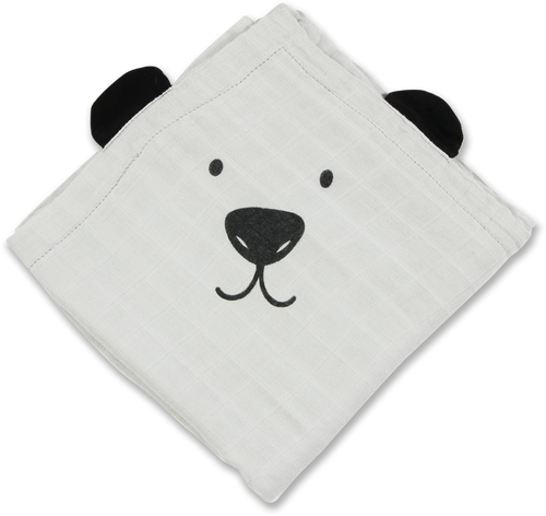 Bamboo Muslin Animal Blanket - Grey Bear