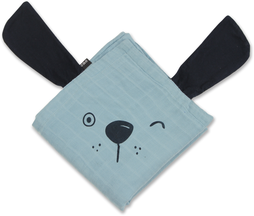 Bamboo Muslin Animal Blanket - Blue Dog