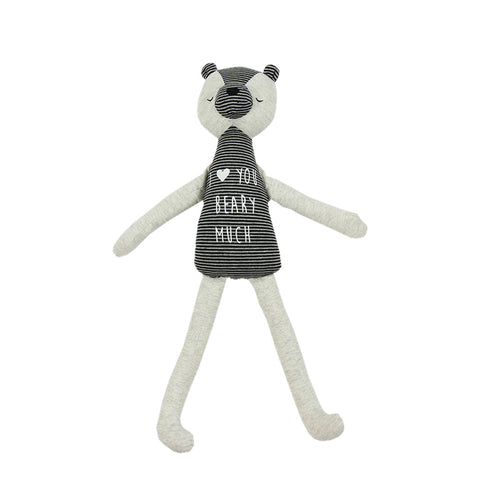 Soft Jersey Doll - Light Grey Bear