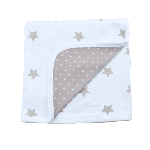 Reversible Summer Blanket - shiny star light blue