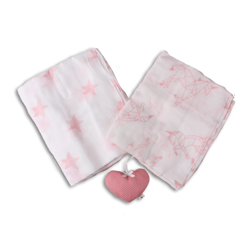 Pair of Supersize Muslin Blanket - Pink Unicorn Origami/Pink Stars