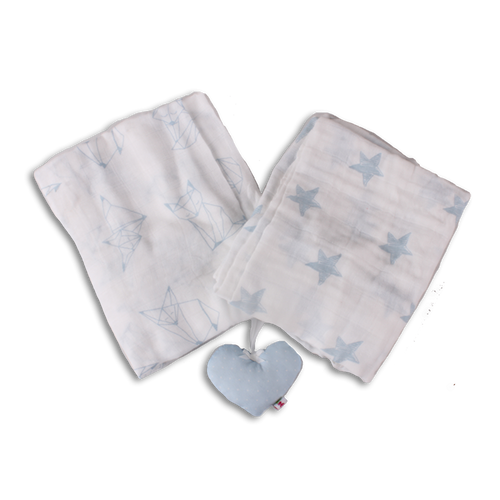 Pair of Supersize Muslin Blanket - Light Blue Foxes Origami/Blue Stars