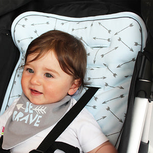Bandana bib trio - Blue Arrow/Grey/Stripes