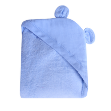 Load image into Gallery viewer, Newborn Animal Hooded Towel - light blue bear